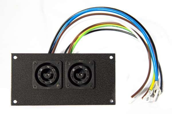 Anschluss-Panel mit 2x Bulgindosen für Pulsar Rackpaks 6x5A inkl. Kabelsatz