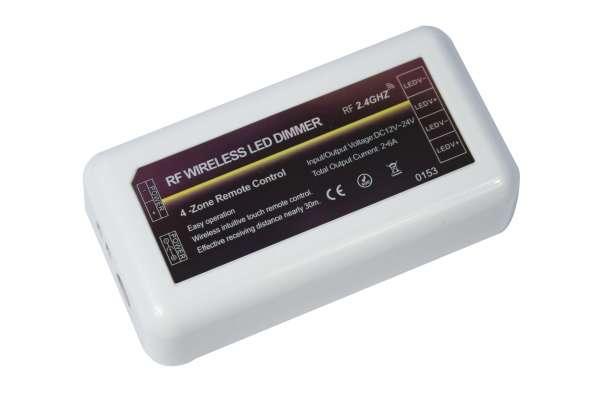 1-Kanal / 4-Zonen Funk-Empfänger DC 12/24V, 2x 6A, 2,4 GHz für Funk-Fernbedienung (107768)