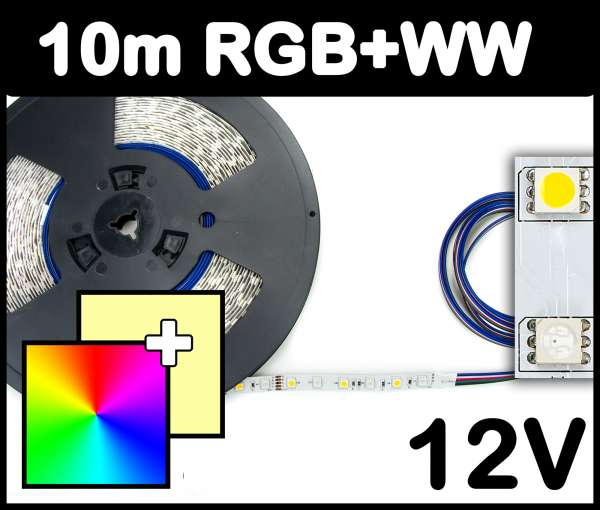 10m Rolle RGB+WW 5050 LED Strip 12V mehrfarbig + warmweiß 14,4W/m Strips Flexband Leiste