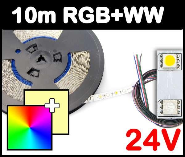10m Rolle RGB+WW 5050 LED Strip 24V mehrfarbig + warmweiß 14,4W/m Strips Flexband Leiste
