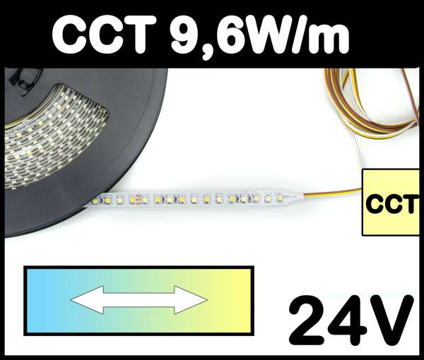 1m CCT Strip 9,6W/m 24V LED Strips regelbar von kalt bis warmweiß SMD 3528 Strip Flexband 3000-7000K