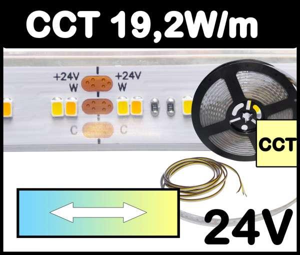 5m CCT Outdoor IP67 LED Strip SMD 2216-1Step 19,2W/m 24V Streifen regelbar von kaltweiß bis warmweiß 2700-6000K, CRI>90