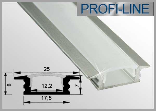 LED Alu-Profil 1m Aluprofil / LED-Profil Einbauvariante flach LAP-31 für LED-Strips inkl. Abdeckung