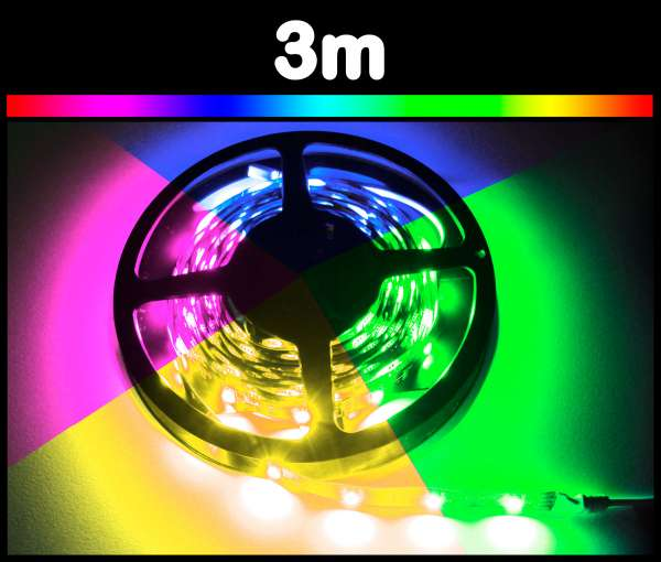 3m RGB 5050 LED Strips mehrfarbig Strip Flexband