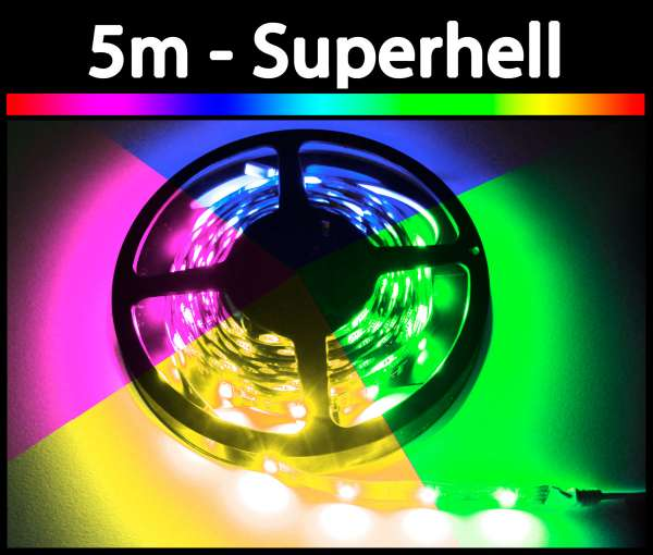 5m 14,4W/m RGB 5050 LED Strip 24V mehrfarbig Strips Flexband
