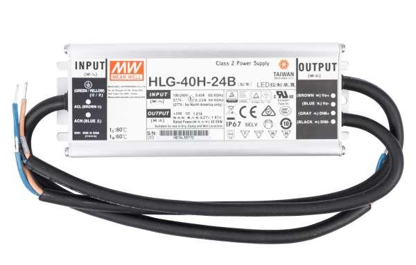 Mean Well HLG-40H-24B, dimmbares Netzteil 230V auf DC 24V/40W speziell für LED-Beleuchtung, Trafo für Strips