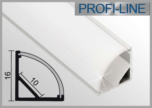 LED Alu-Profil 2m Aluprofil / LED-Profil Eckprofil LAP-01 für LED-Strips inkl. runder Abdeckung Opal