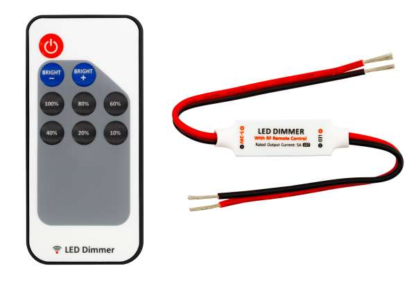 1-Kanal Funk-Dimmer 12V-5A / 24V-4A für LED-Strips / Stripes mit Dimm-Presets, offene Kabelenden