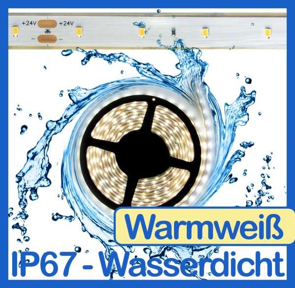 10m Wasserdicht SMD 2016 LED Strip warmweiß (2700K) 24V Strips 4,8W/m Flexband IP67