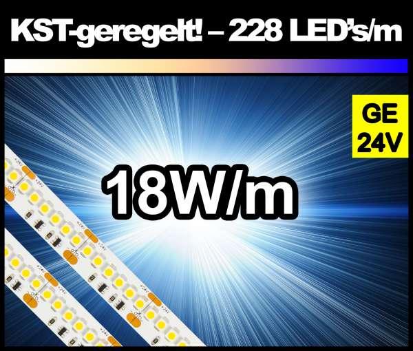 5m Superhell GELB (dunkelgelb) KST 18W/m 24V LED Strip SMD 3528 Strip HP Konstantstrom