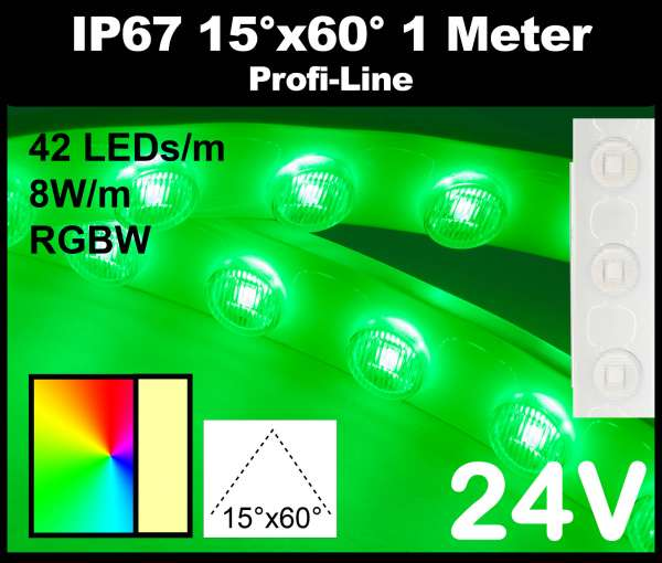 1m Outdoor IP67 RGBW LED-Strip Wallwasher SMD 3535 PL 8W/m 24V RGB+3000K, 42 LEDs/m mit Linsen 15° x 60° Wandfluter