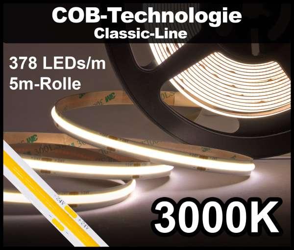 5m COB LED Strip CL 378 NEON-like 24V, 930 lm/m bei 10W/m, warmweiß (3000K), CRI>90 Streifen Flexband IP20