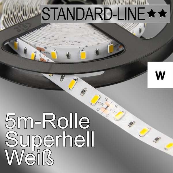 5m High-Power 12V LED-Strip SL-5730 weiß mit 12W/m, Stripes Flexband SL-5730w