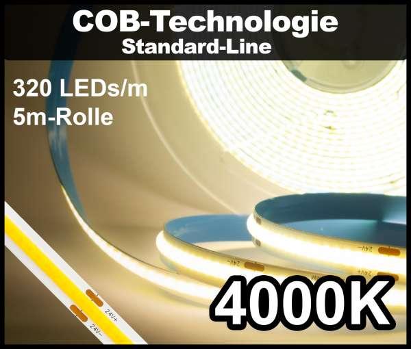 5m COB LED Strip SL 320 NEON-like 24V, 510 lm/m bei 4,8W/m, neutralweiß (4000K), CRI>80 Streifen Flexband IP33