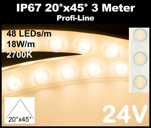 3m Outdoor IP67 LED-Strip Wallwasher SMD 2835 PL 18W/m 24V CRI>90 warmweiß (2700K) 48 LEDs/m mit Linsen 20° x 45° Wandfluter