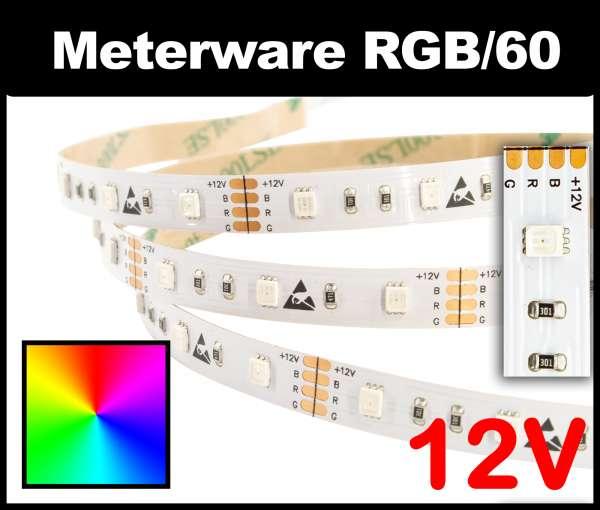 1m RGB LED-Strip SMD 2835 PL nur 8mm breit, 60 LEDs/m, 8,5W/m, 12V mehrfarbiger LED Streifen, Meterware!