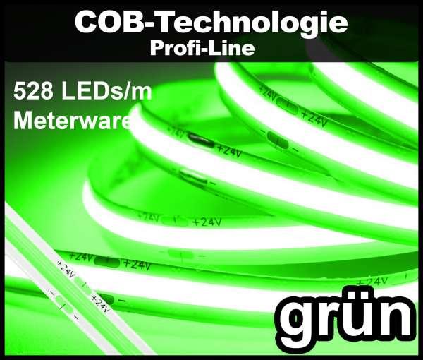 1m COB LED Strip PL 528 NEON-like 24V, GRÜN, 980 lm/m bei 14W/m, einfarbiger LED Streifen Flexband IP20