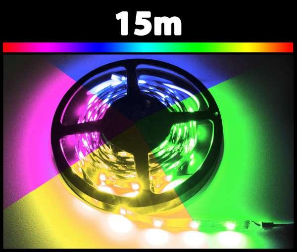 15m RGB 5050 LED Strip 24V mehrfarbig Strips Flexband Leiste