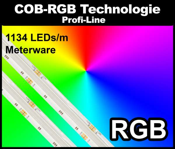 1m COB RGB LED Strip PL 1134 NEON-like 24V, 570 lm/m bei 15W/m, RGB Multicolor Streifen Flexband IP20