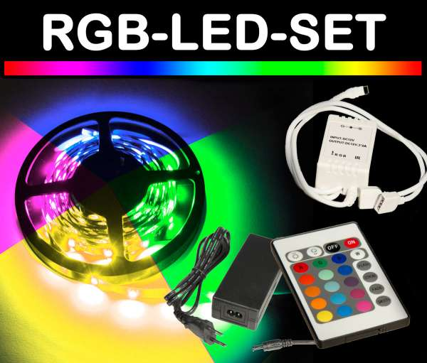 5m RGB 5050 LED Strip Set mit FB+NT Strips mehrfarbig Flexband