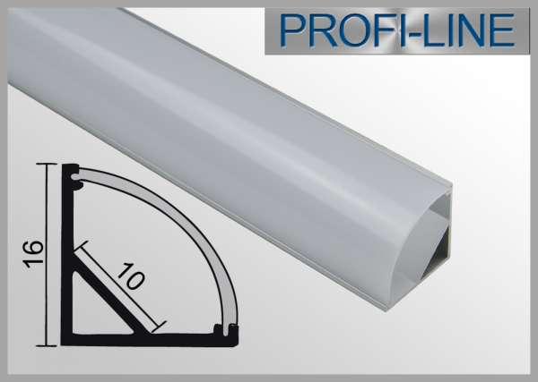 10 cm MUSTER LED Alu-Profil 2m Aluprofil / LED-Profil Eckprofil LAP-01 für LED-Strips inkl. runder Abdeckung Opal