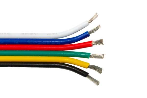 Meterware Verlängerung 6adrig für RGB+WW+CW LED-Strips 6-adrig RGBW-LED-Kabel, Litze, Litzenkabel AWG20