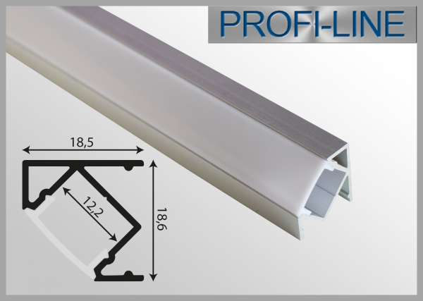 LED Alu-Profil 2m Aluprofil / LED-Profil Winkelprofil LAP-111 für LED-Strips inkl. Abdeckung Opal, Eckprofil