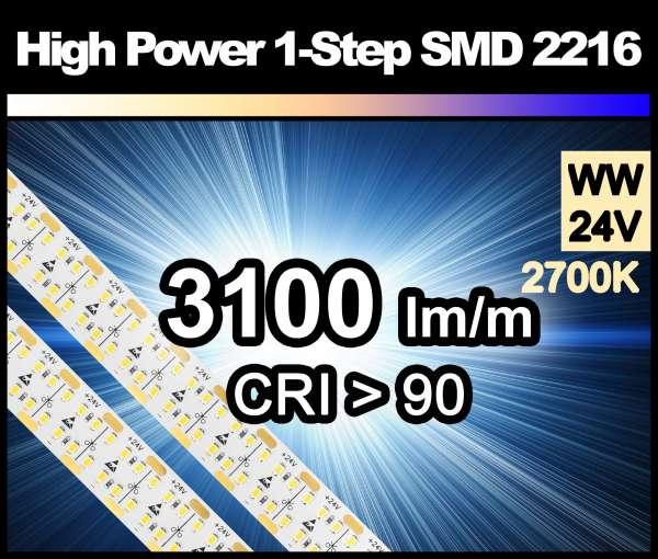 1m LED-Strip HP SMD 2216 PL 480 LEDs/m, 3100 lm/m bei 38,4W/m 24V warmweiß (2700K/1-Step) CRI>90 LED-Streifen 15mm breit