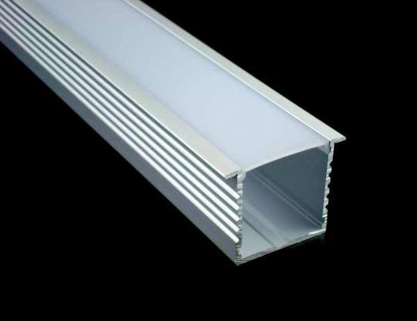 1m Alu-Einbauprofil R21 / LED-Profil 35 x 35 mm für LED-Strips inkl. Abdeckung und Endkappen
