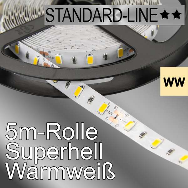 5m High-Power 12V LED-Strip SL-5730 warmweiß mit 12W/m, Stripes Flexband SL-5730ww