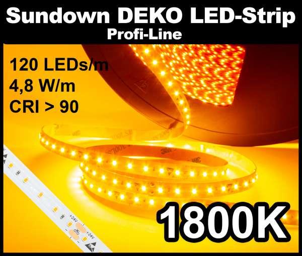 1m Sundown DEKO LED-Strip SMD 2216 PL, 1800K - Vintage, 120 LEDs/m, 24V, nur 4,8W/m, CRI>90, bis zu 20m Streifen am Stück