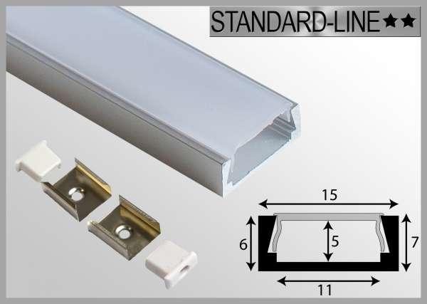 LED Alu-Profil SET: 1m Aluprofil / LED-Profil Aufbau 15,2 x 6mm inkl. Abdeckung Frost, Endkappen und Montageclips