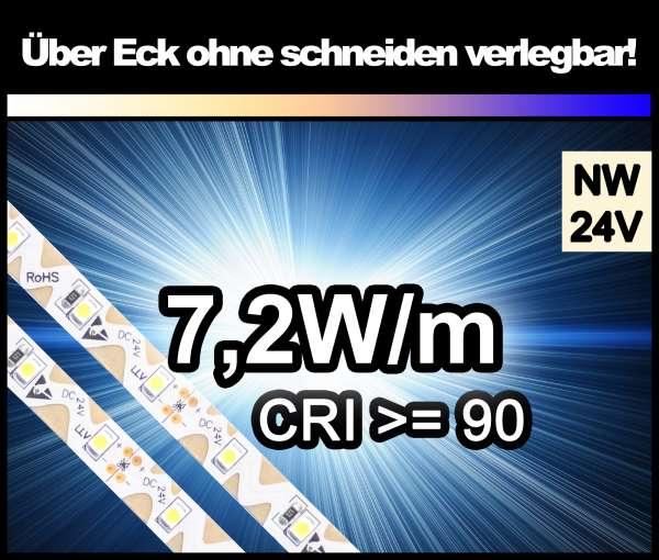 1m Zig-Zag 3528 LED Strip CRI>90 mit 580 lm/m bei 7,2W/m neutralweiß 24V Strips Flexband Zick-Zack
