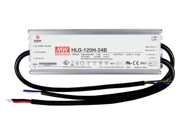 Mean Well HLG-120H-24B, dimmbares Netzteil 230V auf DC 24V/120W speziell für LED-Beleuchtung, Trafo für Strips
