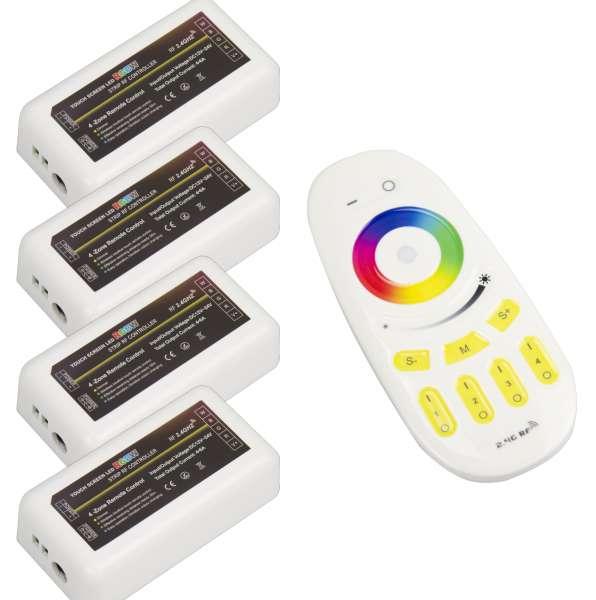 Komplettset: RGB+WW 4-Zonen / 4-Kanal Funk-Fernbedienung mit 4 Funk-Empfängern für 12V und 24V RGBW