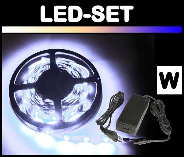 5m 3528 LED Strips Set Weiß mit Netzteil Strip Flexband