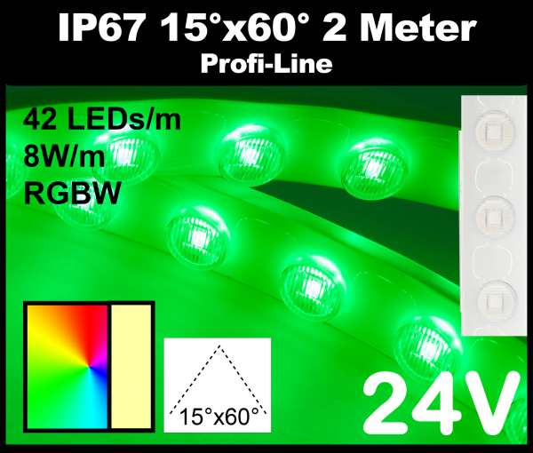 2m Outdoor IP67 RGBW LED-Strip Wallwasher SMD 3535 PL 8W/m 24V RGB+3000K, 42 LEDs/m mit Linsen 15° x 60° Wandfluter