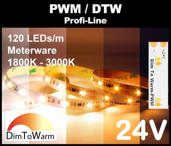 1m DTW LED Strip SMD 2216 PL, 950 lm/m bei 10W/m, 24V LED Streifen, 1800K - 3000K Dim-to-warm, CRI>90