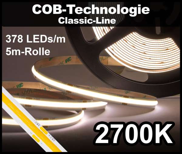 5m COB LED Strip CL 378 NEON-like 24V, 870 lm/m bei 10W/m, warmweiß (2700K), CRI>90 Streifen Flexband IP20