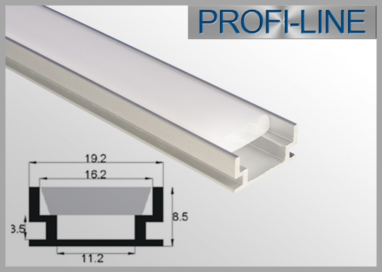 10 cm MUSTER LED Alu-Profil 2m trittfestes Aluprofil / LED-Profil Aufbauvariante LAP-03 für LED-Strips inkl. Abdeckung