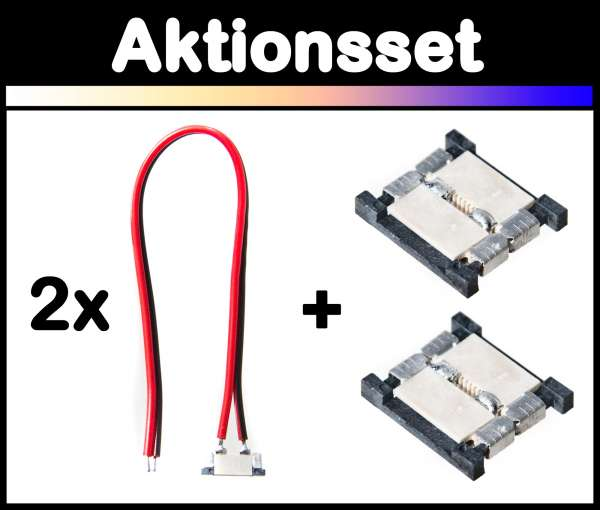 Aktionsset: Adapter und Verlängerungsset für 1-Kanal LED-Strips mit 8mm Breite