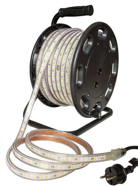 25m Outdoor LED Strip SMD 2835 auf Trommel, kaltweiß 6000K, 180 LEDs/m, IP65, 230V AC, 11W/m