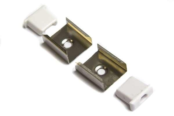 Zubehör-Set für 1m LED Alu-Aufbauprofil Schmal 15x6mm für LED-Strips mit 2 Endkappen und 2 Halterungen