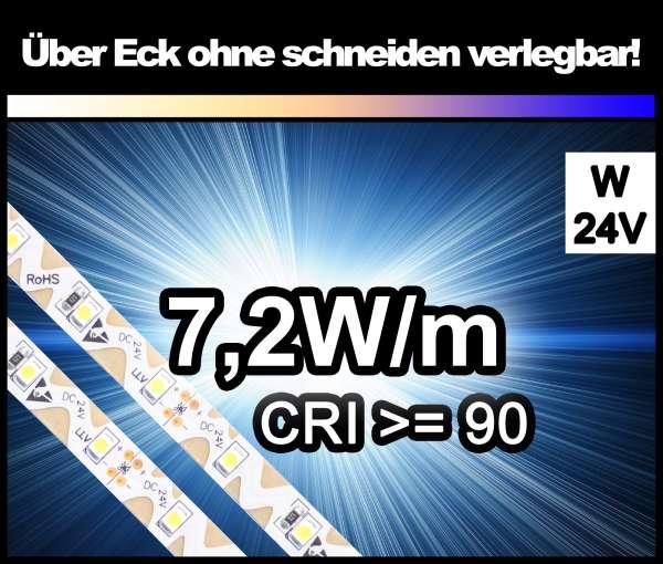 1m Zig-Zag 3528 LED Strip CRI>90 mit 630 lm/m bei 7,2W/m weiß 24V Strips Flexband Zick-Zack