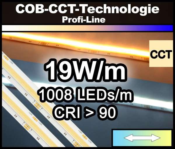 1m COB CCT LED Strip PL 1008 NEON-like 24V, 1800 lm/m bei 19W/m, 2700 - 6500K, CRI>90, Dual-white Streifen Flexband IP20