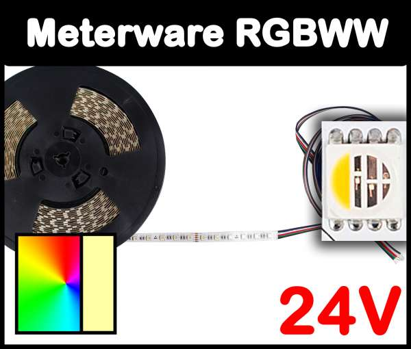 1m RGBWW 5050 ALL-in-one LED Strip 24V mehrfarbig und warmweiß 19,2W/m Strips Flexband, Meterware!