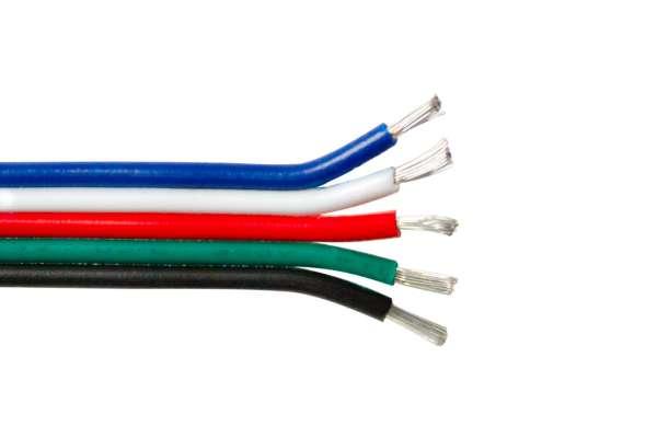 Meterware Verlängerung 5adrig für RGB+WW LED-Strips 5-adrig RGBW-LED-Kabel, Litze, Litzenkabel
