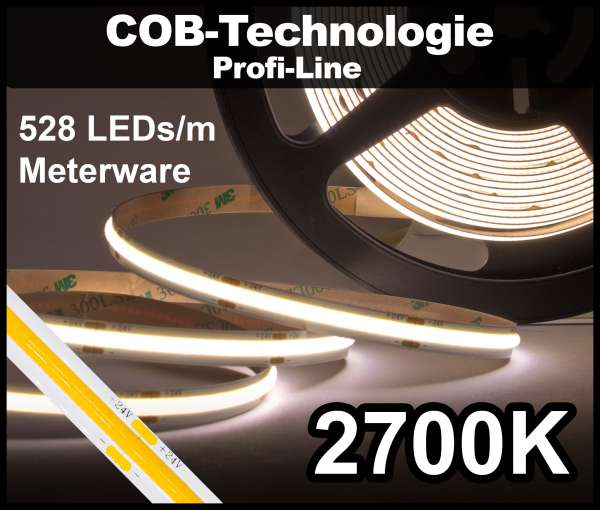 1m COB LED Strip PL 528 NEON-like 24V, 1250 lm/m bei 14W/m, warmweiß (2700K), CRI>90 Streifen Flexband IP20
