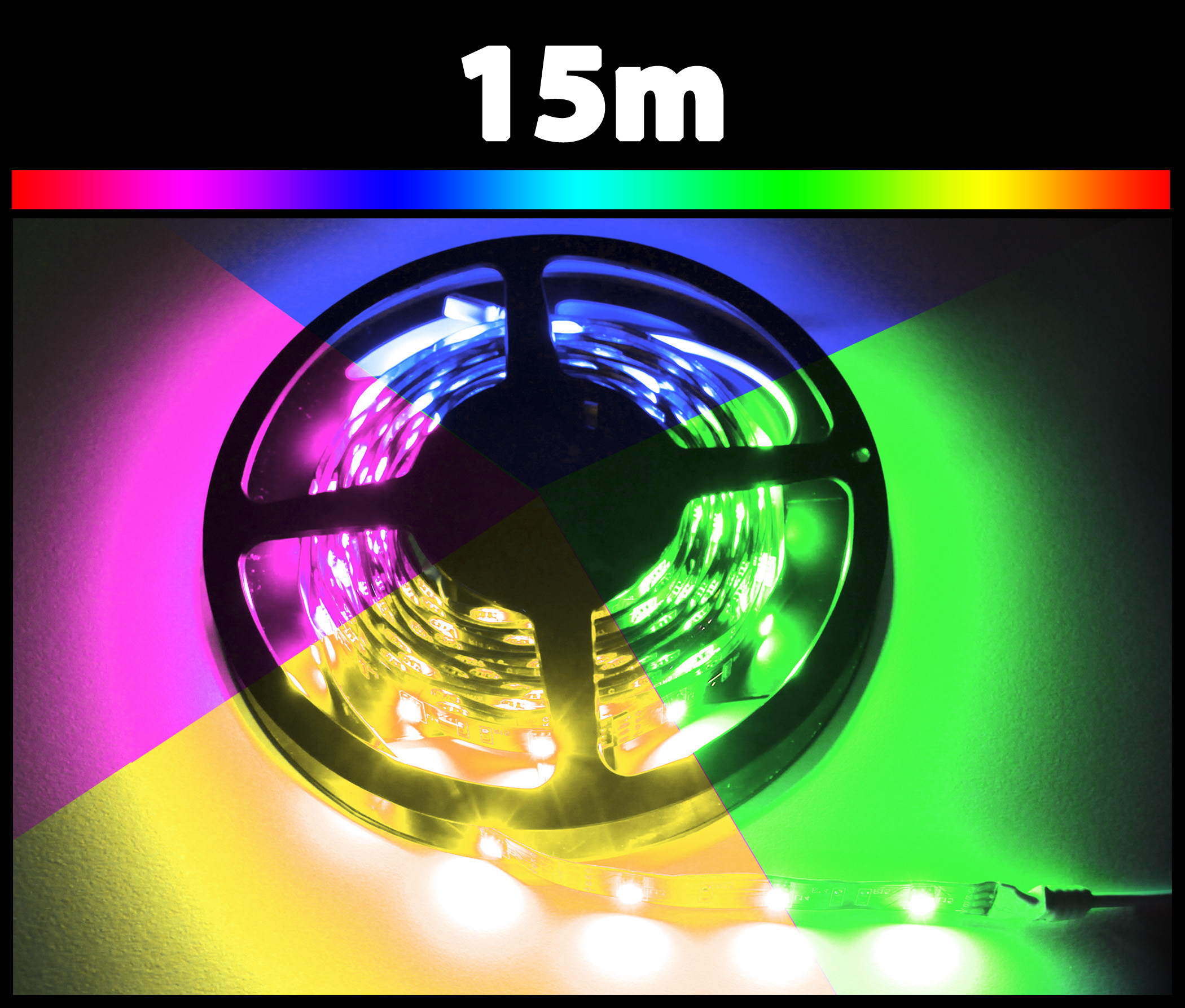 15m rgb 5050 led strip 24v mehrfarbig strips flexband leiste. Black Bedroom Furniture Sets. Home Design Ideas
