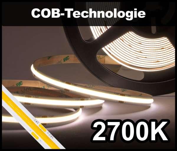 1m COB LED Strip NEON-like 24V, 1250 lm/m bei 14W/m, warmweiß (2700K), CRI>90 Strip Flexband IP20